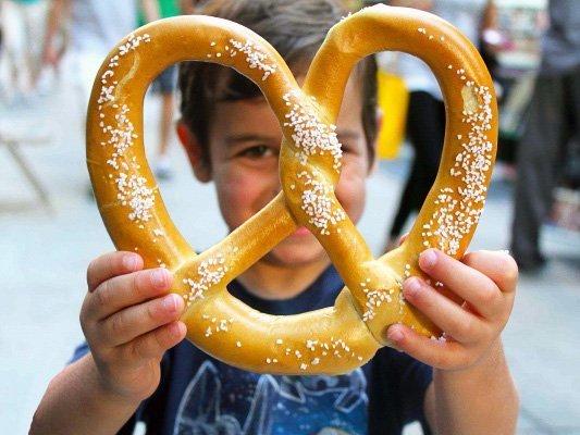 Child with pretzel