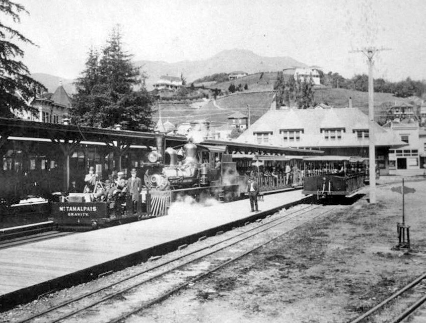 Mill Valley train station circa 1910 with Mt. Tamalpais in background