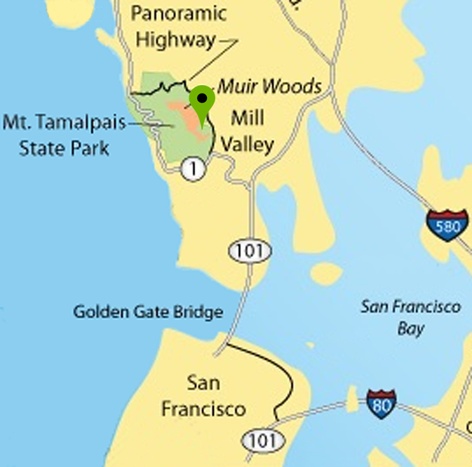 Bay Area & Muir Woods with marker showing location of the Tourist Club