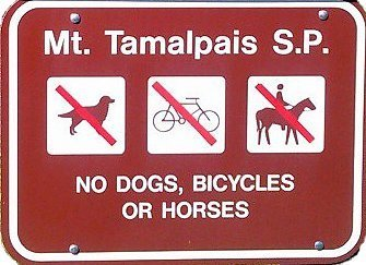 No dogs, bicycles, or horses permitted in Mt. Tamalpais State Park