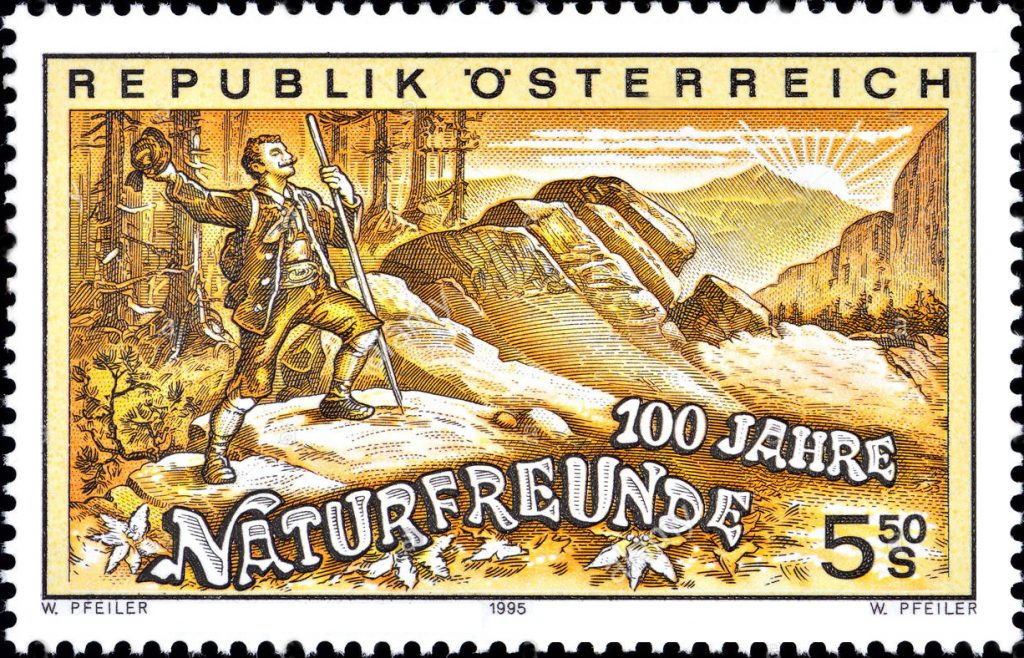 Austrian stamp commemorating 100 year anniversary of founding of Die Naturfreunde in 1895